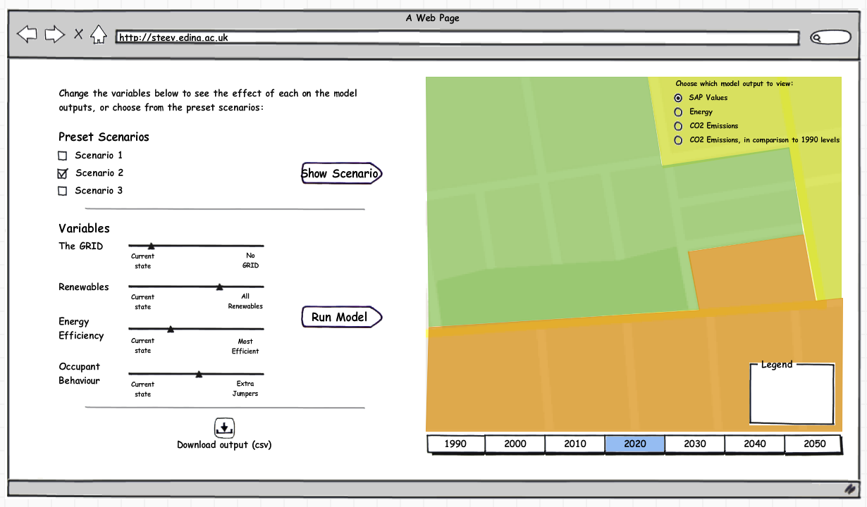 Further iteration of STEEV tool user interface using Balsamiq